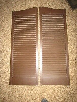 "CAFE DOORS Swinging Saloon Wooden Louvered FREE SHIP 42"" tall 14.5"" wide each"