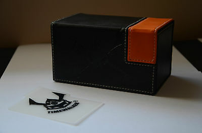 Leatherette Dual Compartment BlackOrange DECK BOX Magnetic Clasp MTG Pokemon WoW