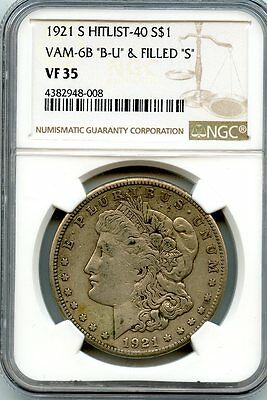 "C7830- 1921-S Vam-6B ""B-U"" & Filled ""S"" Hit List 40 Morgan Dollar Ngc Vf35"