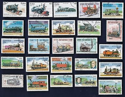 25 RAILWAY STEAM ENGINES on Stamps