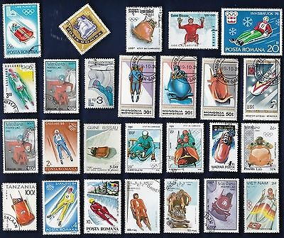 25 SLEDS, SLEIGHS, ETC on Stamps