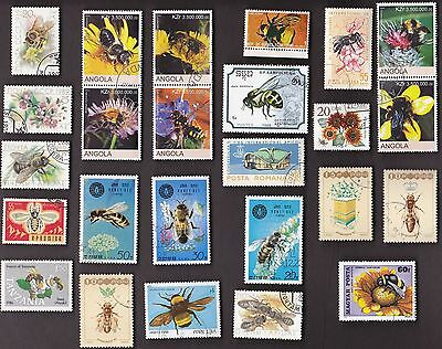 25 All Different BEES on Stamps