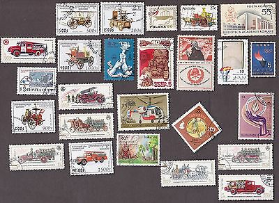 25 All Different FIRES, FIREFIGHTING & FLAMES on Stamps
