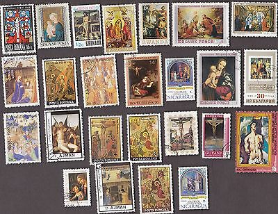 25 All Different LIFE OF CHRIST on Stamps