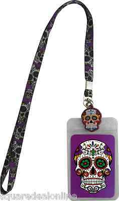 140003 Purple Sugar Skull Lanyard ID Holder Name Tag Day of the Dead Skeleton
