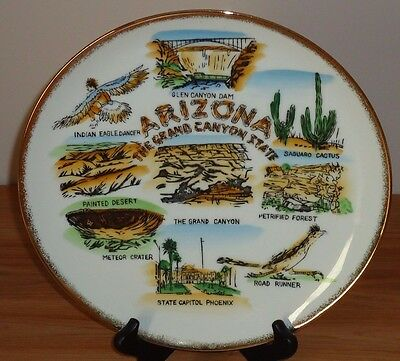 """Vintage ARIZONA The Grand Canyon State 10.5"""" collector's plate JAPAN"""