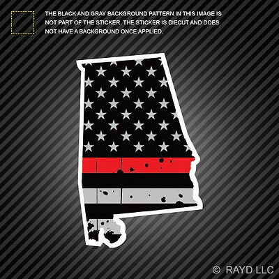 Distressed Thin Red Line California State Shaped Subdued US Flag Sticker fire CA