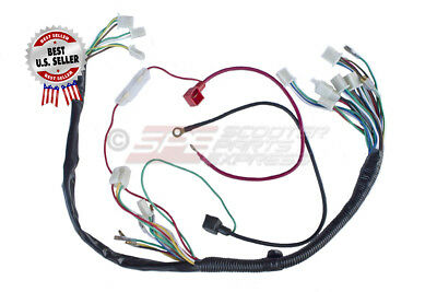 CHINESE ATV UTV Quad 4 Wheeler Electrics Wiring Harness 50cc ... on dog harness, obd0 to obd1 conversion harness, pet harness, radio harness, oxygen sensor extension harness, pony harness, cable harness, battery harness, nakamichi harness, amp bypass harness, suspension harness, maxi-seal harness, safety harness, alpine stereo harness, electrical harness, engine harness, fall protection harness,