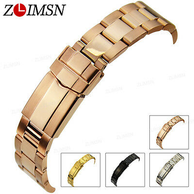Stainless Steel Watch Band Strap Curved End Bracelet Link Folding Clasp 17 20mm