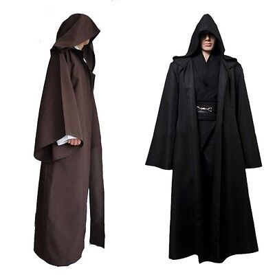 Brown Robe Adult Hooded Cloak Cape Party Halloween Cosplay Costume Festival Prop