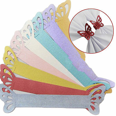 50pcs Pearlescent Paper Butterfly Napkin Rings for Weddings Party Table Decor