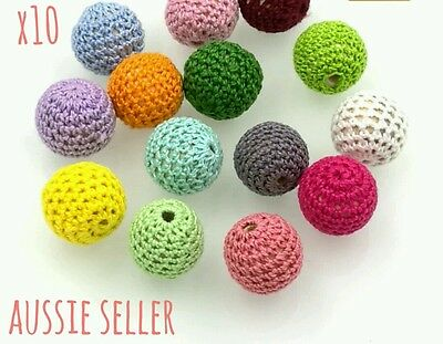 10 x mixed crochet knit 25mm round beads DIY necklace craft large teether baby