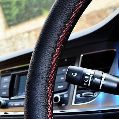 1PC Car Truck Leather Steering Wheel Cover With Needles and Black Thread DIY Hot