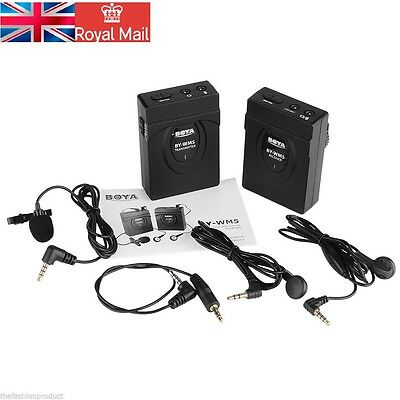 2.4GHZ Wireless Stereo Microphone Mic System for Video Camcorder DSLR Camera UK