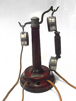 Antiguo telefono de coleccion GRAMMONT de 1912 antique wood french telephone old