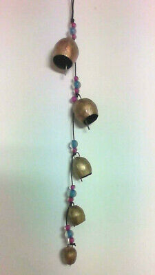 Handmade  Set 5 Cow Bells Windchime with Coloured Beads Ethical Trade from India