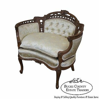 Vintage French Walnut Louis XV Style Bergere Canape w/ Carved Birds