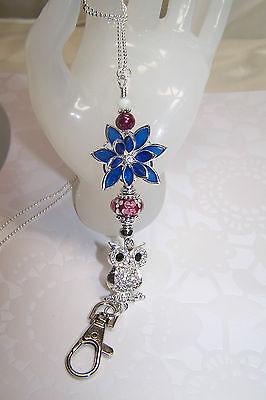Blue Rhinestone Flower & Silver Owl with Murano Beaded Lanyard /ID Badge Holder
