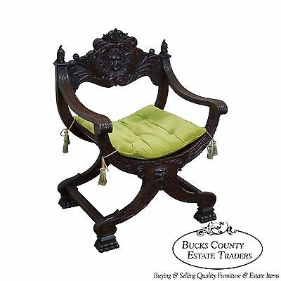Antique 19th Century Oak Renaissance Style Savonarola X Base Arm Chair