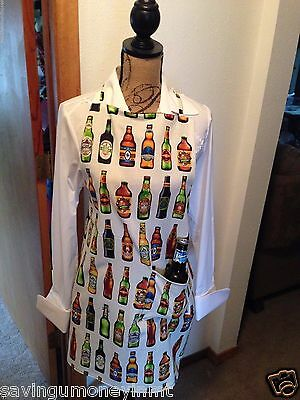 Beer lovers  barbecue style apron ties at neck and waist handmade