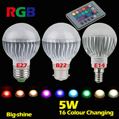 E27 B22 E14 5W RGB LED Bulb Dimmable 16 Color Changing Light Lamp Remote Control
