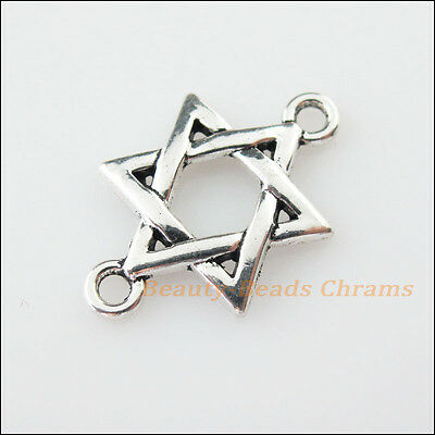 12Pcs Tibetan Silver Tone Star China Knot Charms Pendants Connectors 17x26mm