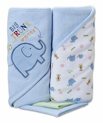 Spasilk Hooded Terry Bath Towel with Washcloths, Elephant Blue, 2-Count