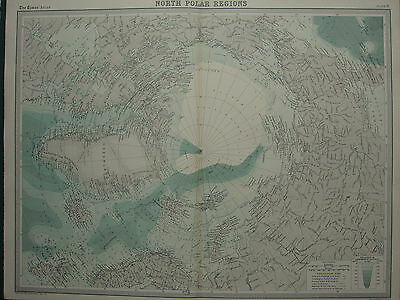 1920 Large Map ~ North Polar Regions North Pole Greenland Exploreres Routes