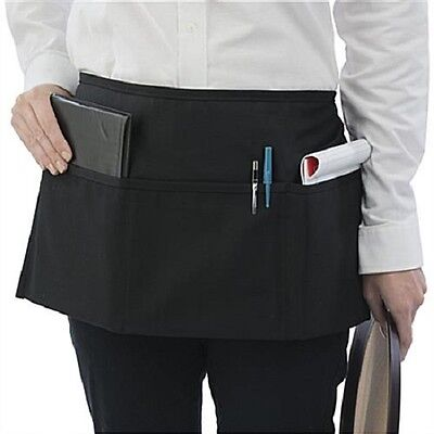 3 New Waitress Waiter Server 3 Pocket Waist Apron, Black 100% Commercial grade!