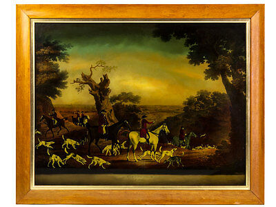 After Sartorius Reverse Painted Print on Glass Hunting Scene