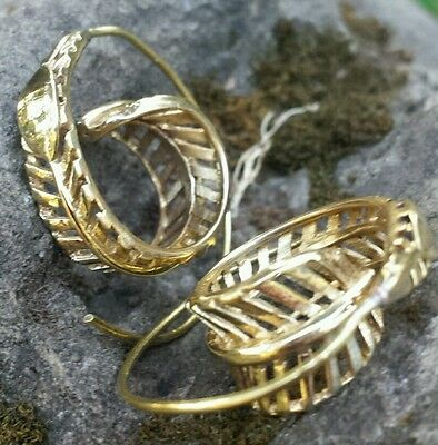 REDUCED! Small Spiral Brass 3D Feather Earrings - Ethnic, Boho, Funky, Tribal
