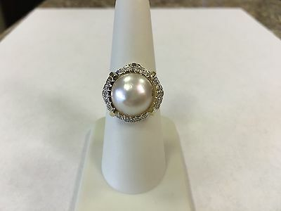 14k Yellow Gold Mabe Pearl Ring with Diamond Halo