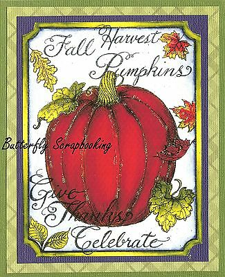 FALL SCARECROW Pumpkin Field Barn Wood Mounted Rubber Stamp NORTHWOODS O9843 New