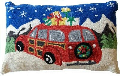 "Red Christmas Woodie Station Wagon Car & Gifts - 14"" x 22"" Wool Hooked Pillow -"