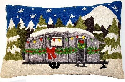 """Retro Silver Christmas Camper Trailer - 14"""" x 22"""" Wool Hooked Pillow - An Exclus"""