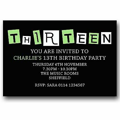 10 Personalised BOYS GIRLS Teenager 13th Birthday Party Invitations T57