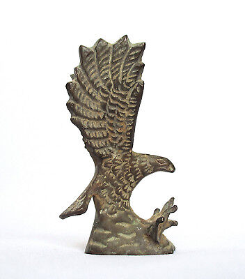 Solid Brass Old Islamic Bird Sculpture Mini Statue: Eagle in a Pose of Hunting