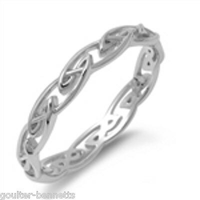 925 Sterling Silver Celtic Style Stacking Stacker Band Ring 4 mm Wide