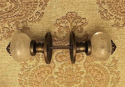 Antique Vintage Look Bubbled Glass Door Knob Set