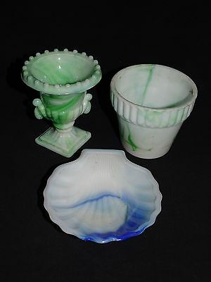 Akro Agate Urn, Ribbed Flower Pot and Shell Dish