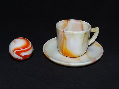 "Akro Agate Demitasse Cup & Saucer and matching Shooter 1"" Marble -Oxblood"