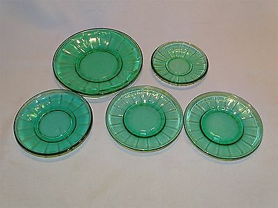 Akro Agate Child's Dishes Trans Optic w/ Interior Panel Jade Green 5pc Set