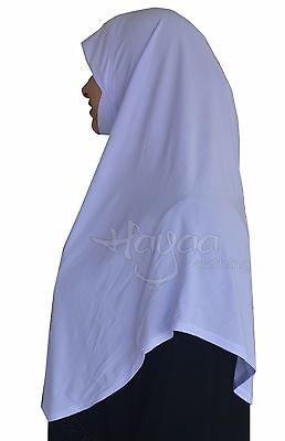 Hayaa Clothing  White  Khimar Slip on Easy Hijab with Chin Cover  XL