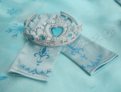 Frozen Elsa Anna Tiara Crown Printing New Gloves  Costume Dress Cosplay