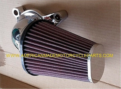Softail Harley - Lance Chrome Red Cone Air Cleaner Filter Kit, Usa Kn Filter