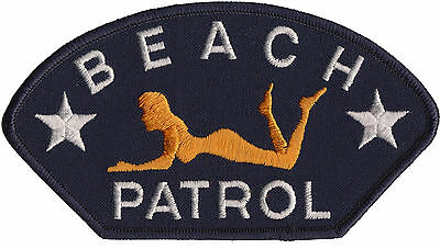 Beach Patrol Sexy Girl Surfing Surfer Iron On Hat Patch   USA MADE