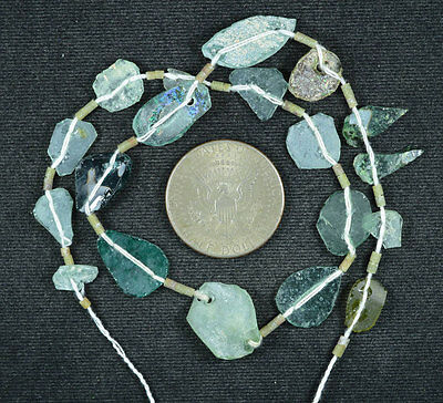 Ancient Roman Glass Beads 1 Medium Strand Aqua And Green 100 -200 Bc 614