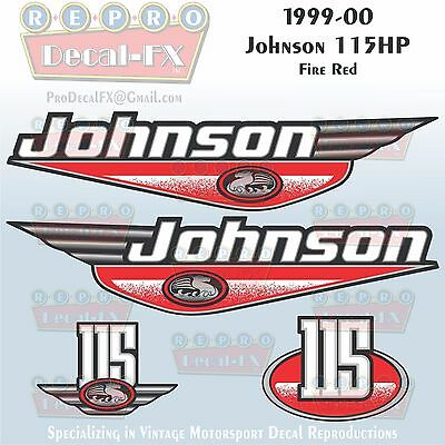 1999-2000 Johnson 115 HP Fire Red Outboard Reproduction 4 Piece Vinyl Decals