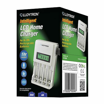 Lloytron 1 Hour Ultra Fast Battery Charger For Rechargeable AA & AAA Batteries