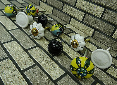 5 Pair Vintage Kitchen Drawer Hand Painted Ceramic Cabinet Cupboard Pull Knobs